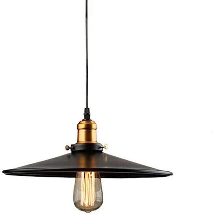 Edison E27 Metal Loft Lámpara Colgante de Sombra, Industrial Lámpara Suspensión Negro Hierro Forjado Luz de Techo Iluminación decorativa (30cm)