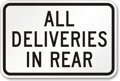 Deliveries in the rear