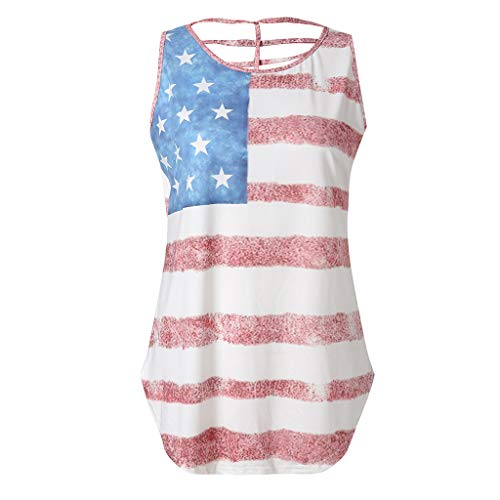 Bravetoshop USA Flag Print Tank Tops Women American Patriotic Stars Sleeveless Blouse Plus (Best Just My Size Bra)