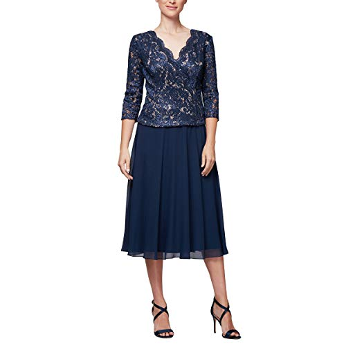 Alex Evenings Women's Sequin Lace Mock Dress (Petite and Regular), Navy/Nude, 16