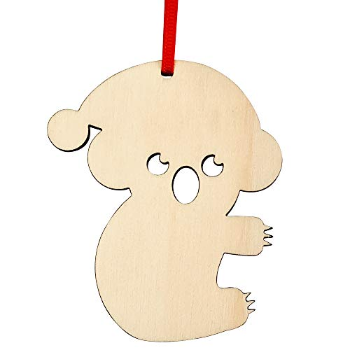 Koala Bear Craft - Wooden Christmas Decoration | Wooden Gift - Koala Decor - Wood Ornament for Christmas Tree, Hanging Holiday Decor, Gift Tag, Stocking Name Tag, Table Setting | Includes Red Ribbon | Approx 3 inches