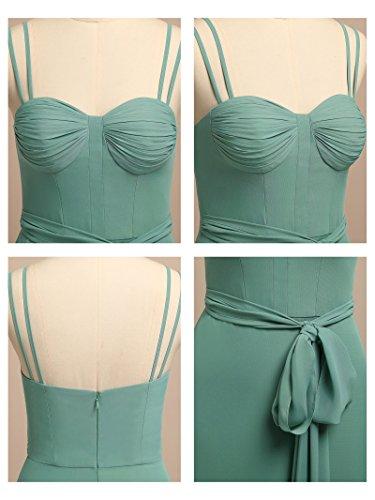 Alicepub Soir Maxi Formelle Des Femmes Robe Double Bretelles Marine Robe De Bal De Soirée En Mousseline De Soie