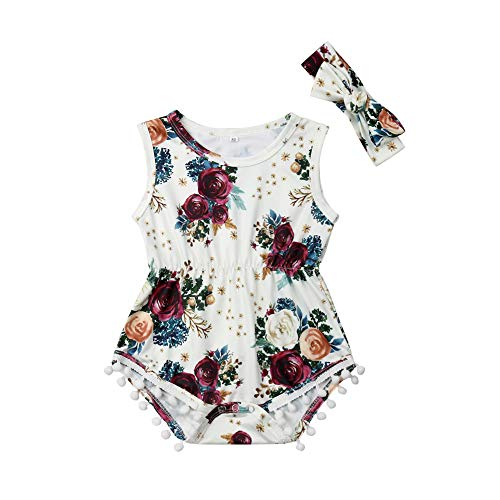 Infant Baby Girls Floral Pompom Tassels Romper Bodysuit Sleeveless Jumpsuit Outfit with Headband Summer Clothes (12-18 Months, White) -