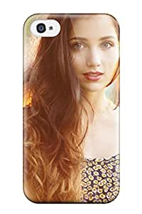 For BakerCooleya Iphone Protective Case, High Quality For Iphone 4/4s Long Hair Girl Cute Babe Brunette Wire Fence People Women Skin Case Cover