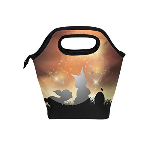 Insulated Lunch Bag Sunrise Rabbits Butterfly Meal Tote Keep Food Hot/Cold Case for Women Men Boys Girls Kids