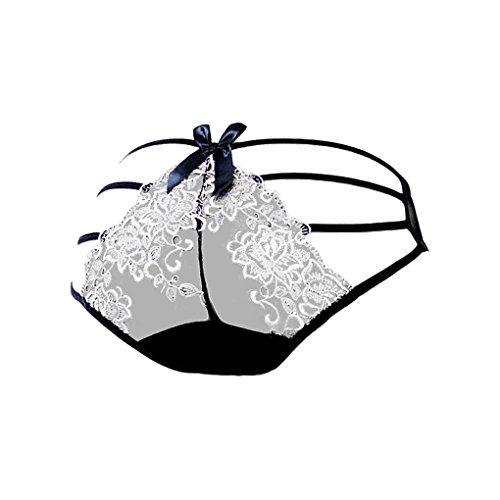 Bragas transparentes del vendaje de las mujeres atractivas Bajo ropa interior de los escritos de las se?oras del bordado de la cintura blanco