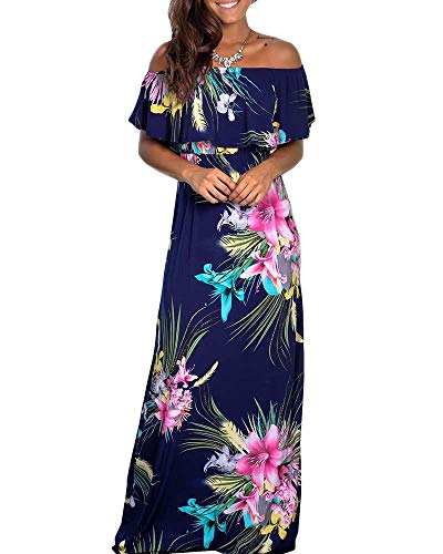Chuanqi Womens Summer Floral Off The Shoulder Dresses Causal Flowy Beach Long Maxi Dress