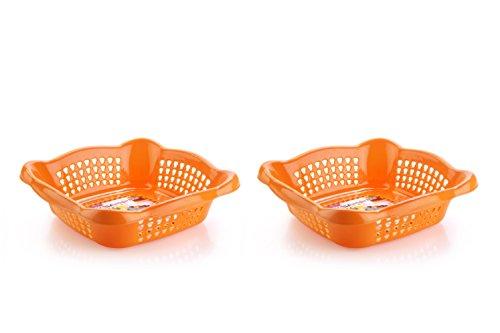 Nayasa Melow 2 Piece Plastic Fruit Basket Set, Large, Orange