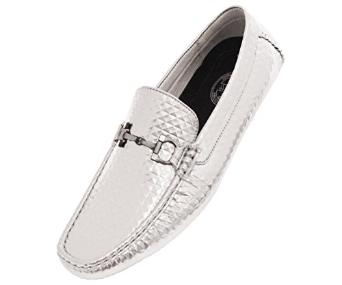 Amali Mens Studded 3D Embossed Patent Loafer Driving Shoe With Silver Buckle Style Parrino Silver q10Tti8