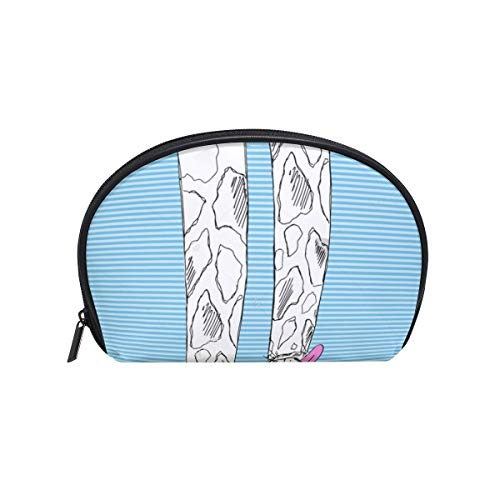 - SLHFPX Makeup Bag Blue Striped Giraffe With Glasses Girls Travel Cosmetic Bag Womens Toiletry Organizer