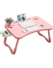 Folding Bed Laptop Table Tray Lap Desk Notebook Stand with ipad Holder Cup Slot Adjustable Anti Slip Legs Foldable for Indoor Outdoor Camping Study Eating Reading