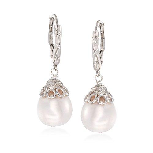 Ross-Simons 10-11mm Cultured Pearl Drop Earrings in Sterling Silver