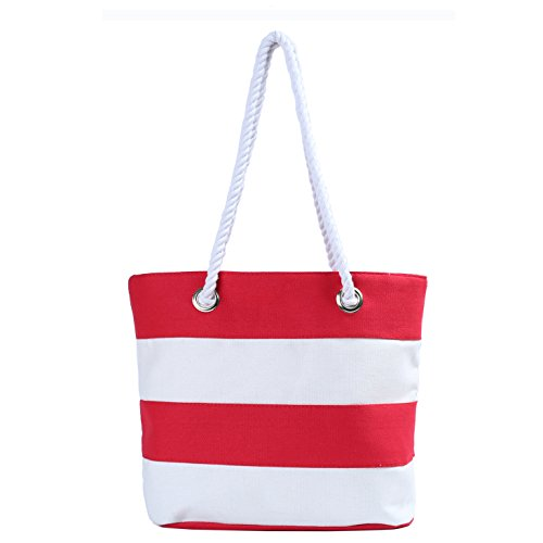 - Inpluer Women's Travel Tote Beach Bag with Inner Zipper with Rope Handles(Small Red)