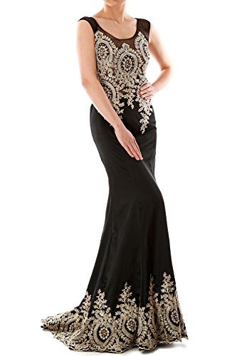 Mermaid Satin Evening Formal Gown Wedding Party Dress Luxury Gold Lace Negro
