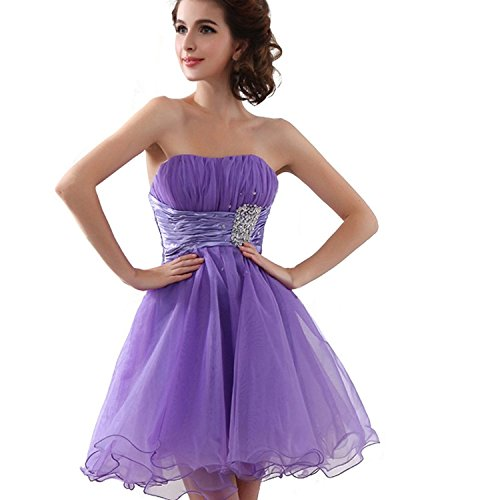 Sarahbridal Juniors Short Homecoming Dress Strapless Beaded Cocktial Party Gowns Lilac - Strapless Beaded Short
