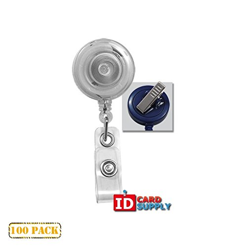 100 x Clear Badge Reel With Clear Vinyl Strap & Swivel Spring Clip