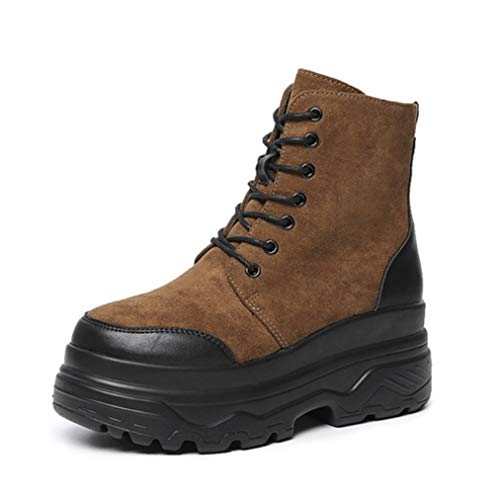 (JOYBI Women Winter High Top Sneakers Boot Round Toe Slip On Lace Up Comfortable Zip Platform Ankle Boots Brown)