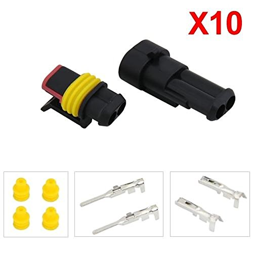 UXOXAS 10 Kit 1.5mm Car Boat Motorcle Bike Truck 2 Pin Way Waterproof Electrical Wire Connector Plug by UXOXAS