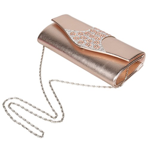 Evening Crystal Silver Clutch Texture Flap Damara Women's Handbag Chic q1w7RPxR
