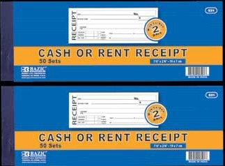 BAZIC 50 Sets 2-Part Cash or Rent Receipt w/ Carbon Case ...