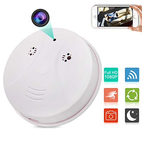 JLRKENG WiFi Night Vision Hidden Spy Camera Smoke Detector HD 1080P Nanny Baby Pet Cam Home Office Security with Motion Detection and Loop Recording