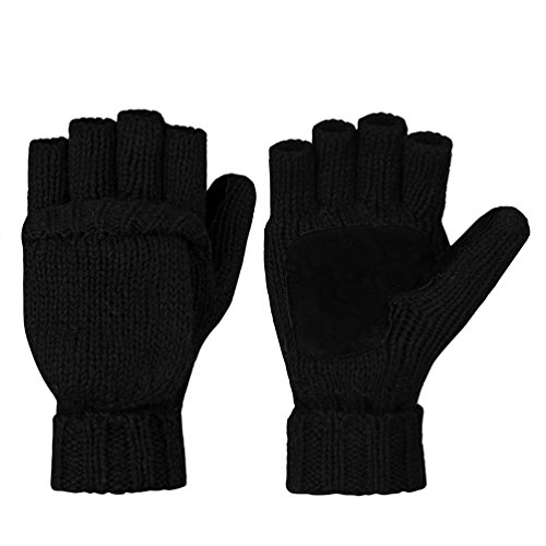Vbiger+Winter+Gloves+Warm+Wool+Mittens+With+Mitten+Cover+%28Black%29
