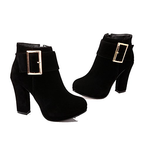 Toe High Suede Zipper Black Imitated high WeiPoot Heels Boots Women's Closed Round Ankle wT8qIa