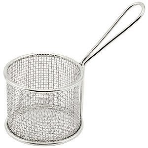 Winco FBM-32R, 3.75-Inch Diameter Stainless Steel Round Mini Deep Fry Serving Basket