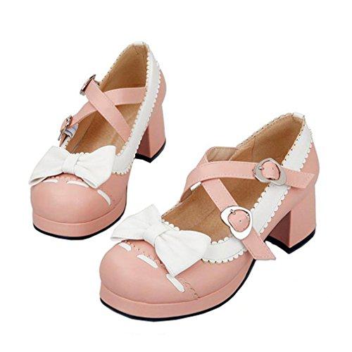 Enmayer Femmes Arcs Cloches Boucle Lolita Cosplay Chunky Mi-talon Mary Janes Chaussures Rose (g3)