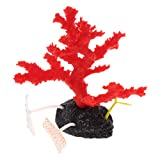 B Blesiya Vivid Coral Silicone Decoration Aquarium Tank Figurine Decor Ornament - Red