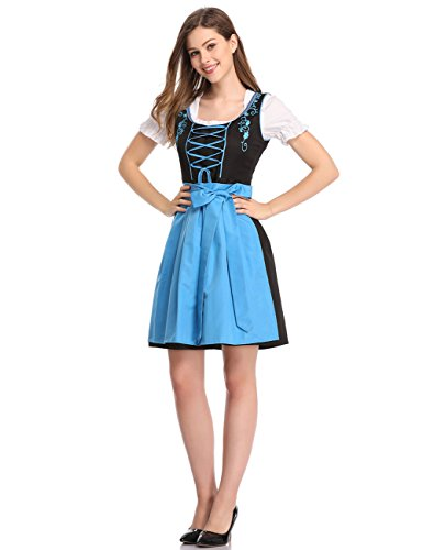 Clearlove Limited Traditional Dirndl Women Dresses Blouse Apron (Blue and Black, XL)