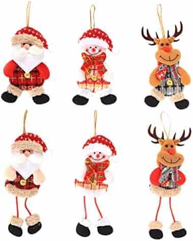 Christmas Ornament Hanging Bells Dolls Santa Claus, Snowman, Reindeer for Wedding Festival 6PCS