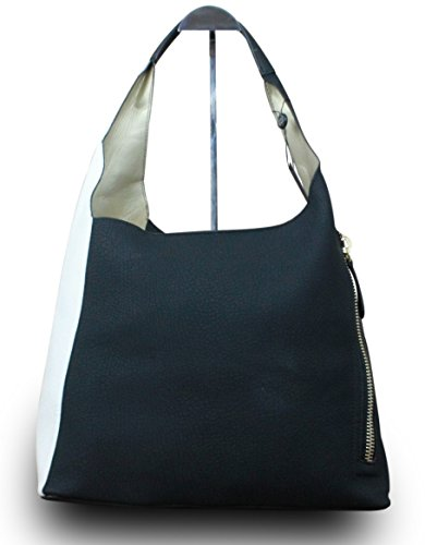 Damen Schultertasche Shopper Leder-Optik Bag in Bag Weiß - Schwarz