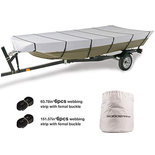 GOODSMANN Jon Boat Covers,Silvery Gray,Water Resistant,Weather Protection,trailerable (fits up to 14ft Length, Beam Width to 70 inches), 9921-0152-22 ()