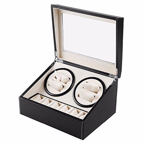 L.HPT 4+6 Wooden Watch Winder,Double Watch Winder with Quiet Motor, [100% ()
