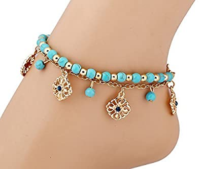 JUST MODEL New Unique Bohemia Two Piece Flower Charm Tassel Chain Turquoise Beads Sandal Anklet