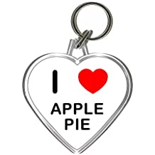 I Love Heart Apple Pie - Plastic Heart Shaped Key Ring