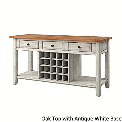 Inspire Q Eleanor Two-Tone Wood Wine Rack Buffet Server by Classic - N/A Antique White Antique - One (1) wine rack buffet server Durable and eco-friendly rubberwood construction Base finish options: oak, black, antique white, antique sage, antique denim, antique grey or antique berry - sideboards-buffets, kitchen-dining-room-furniture, kitchen-dining-room - 41ElxEMZuCL. SS400  -