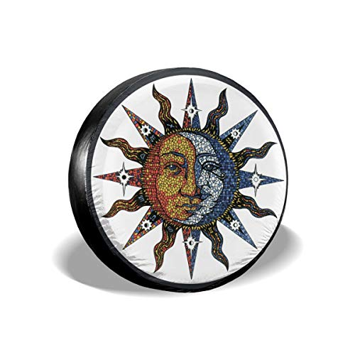 PNdeid Celestial Mosaic Sun Moon Waterproof Dust-Proof Spare Tire Cover for Many Vehicle(14,15,16,17 Inch)