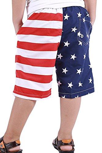 Aulase Kids Boys Classic American Flag Swim Trunks Drawstring Stripe Boardshorts White XL by Aulase (Image #2)