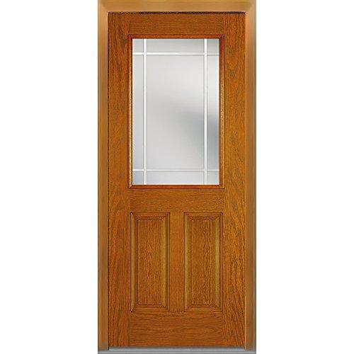 National Door Company Z007001R Fiberglass Oak, Fruitwood, Right Hand In-swing, Exterior Prehung Door, Internal Grilles 1/2 Lite 2-Panel, 32''x80'' by National Door Company