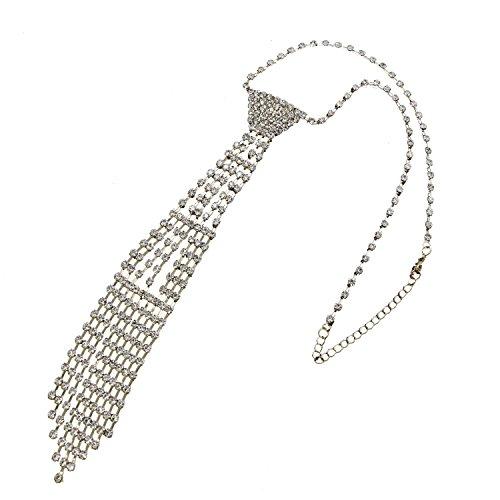 HUELE Sexy Crystal Rhinestone Tassels Necktie Necklace Shiny Geometric Collar Wedding Party Jewelry Gold (Rhinestone Collar Party)