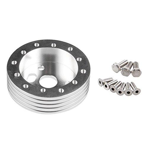 MonkeyJack Universal Car Vehicle 25mm Steering Wheel Hub Adapter Plate Fits 70mm 74mm 6 Holes Wheels - Silver, 1inch 25mm