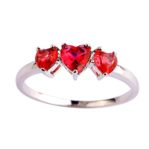 Psiroy 925 Sterling Silver Created Ruby Spinel Filled Heart 3 Stone Promise Ring