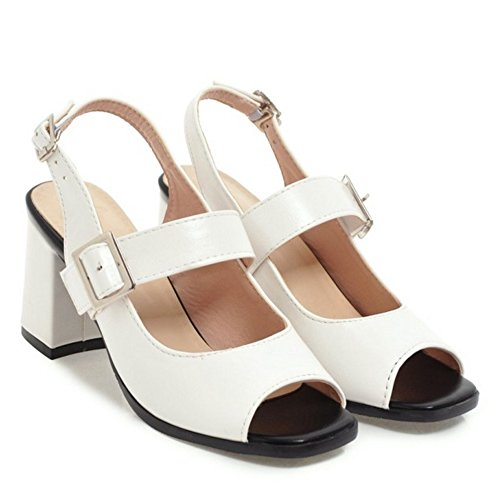 TAOFFEN Women's Summer Peep Toe Court Shoes Heels White-45 gLRTeGBs