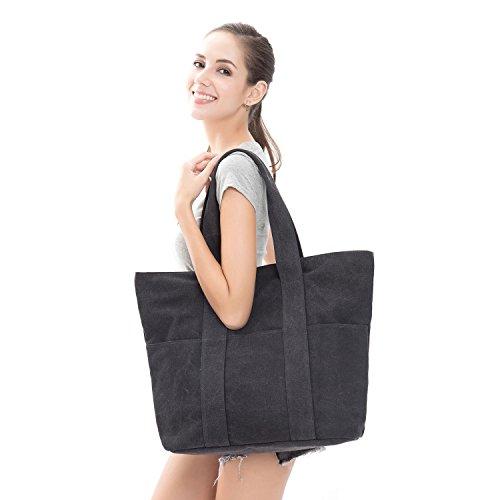 HBY Women's Canvas Shoulder Hand Bag Tote Bag