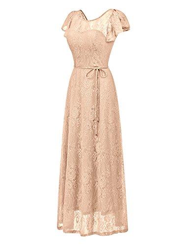 Floral Party Champagne Wedding Lace Bridesmaid Dress Maxi BeryLove Dress Evening Women's Long PZU66E0