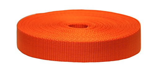 Strapworks Colored Flat Nylon Webbing - Strap For Arts And Crafts, Dog Leashes, Outdoor Activities - 1 Inch x 20 Yards, Pumpkin (Pumpkin Chair)