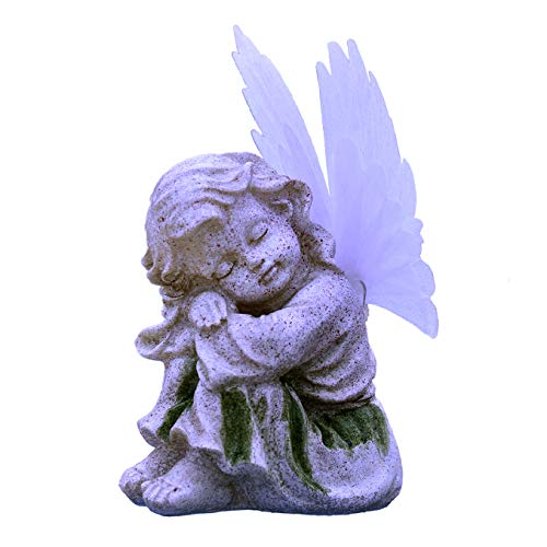 Eastred Solar Powered Angel Statue with Solar Fiber Optic Wings LED Garden Light Décor Outdoor