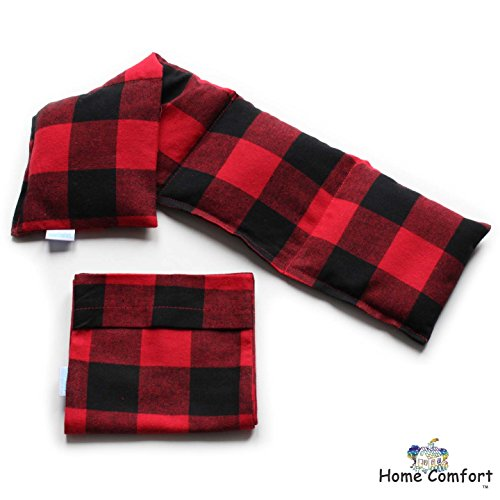 Home Comfort Microwavable Heating Pad with Washable Bag (Red Plaid w/bag)